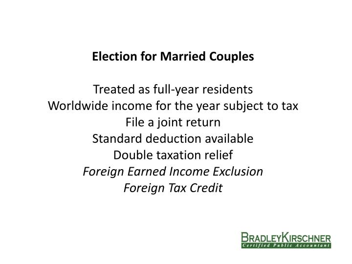 Election for Married Couples