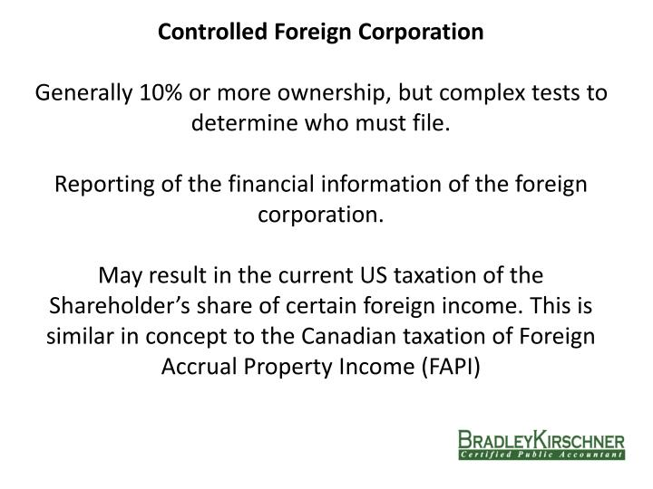 Controlled Foreign Corporation