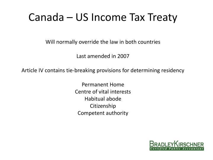 Canada – US Income Tax Treaty