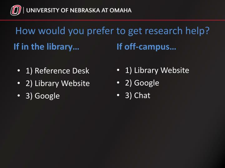 How would you prefer to get research help?