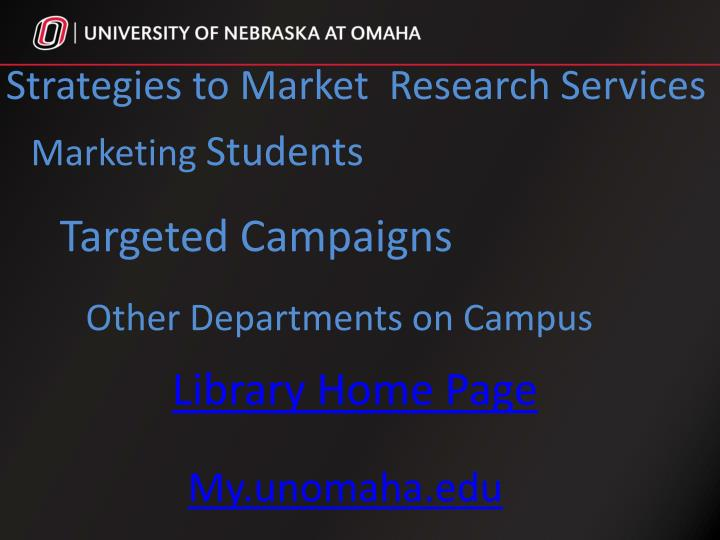 Strategies to Market  Research Services