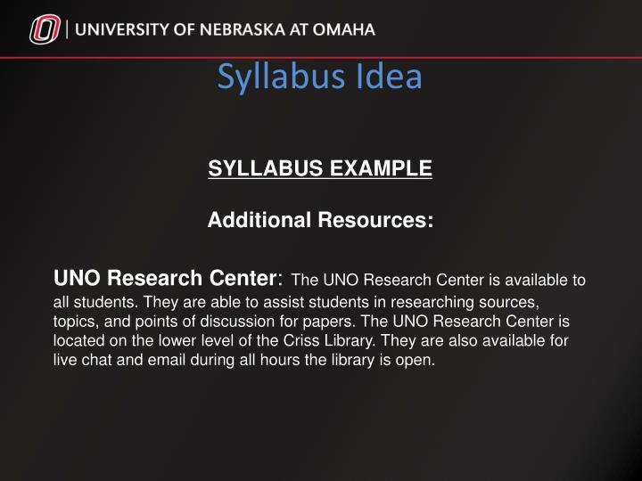 Syllabus Idea