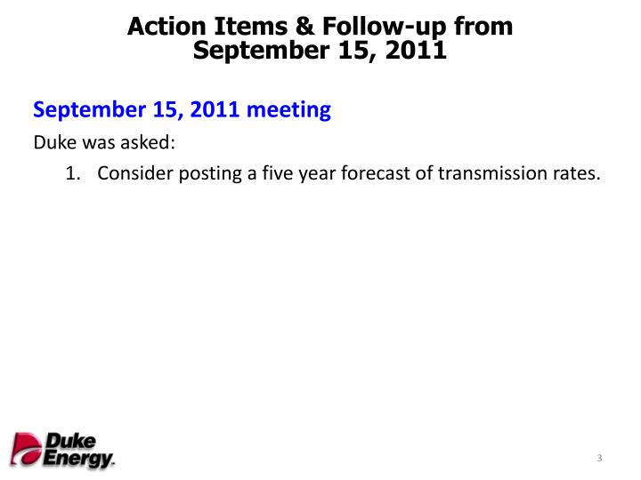 Action Items & Follow-up from