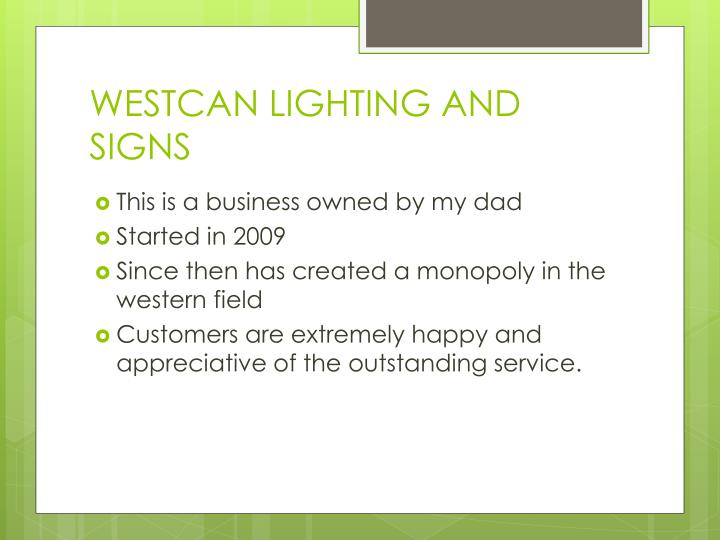 Westcan lighting and signs