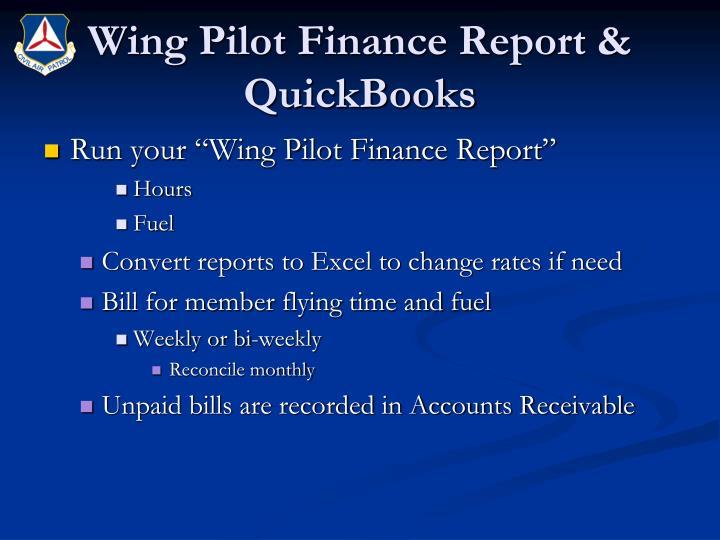 Wing Pilot Finance Report & QuickBooks