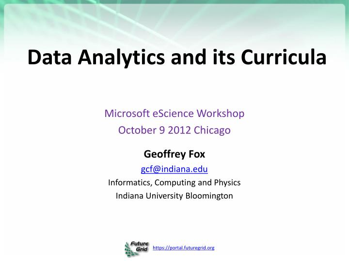 Data analytics and its curricula