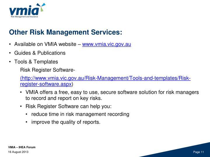 Other Risk Management Services: