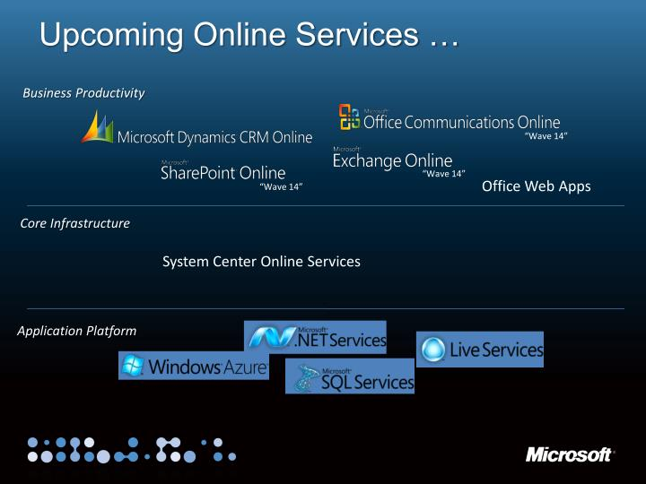 Upcoming Online Services …