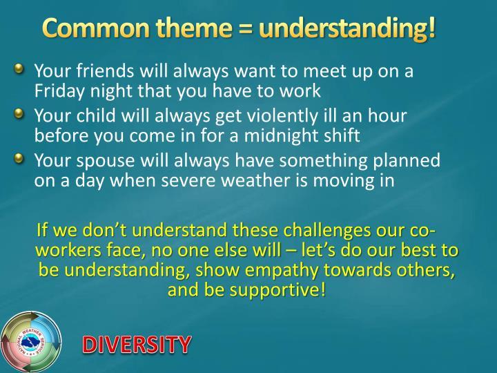 Common theme = understanding!