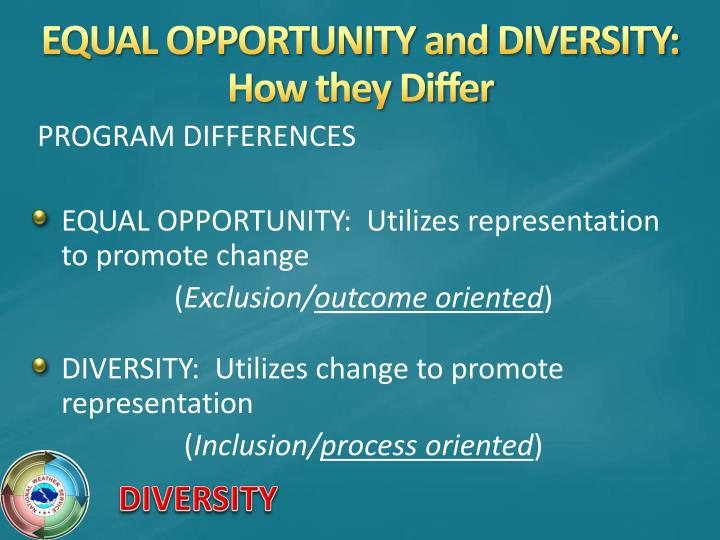 EQUAL OPPORTUNITY and DIVERSITY:  How they Differ