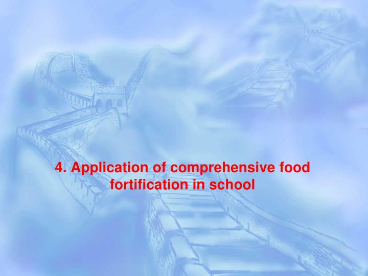 4. Application of comprehensive food fortification in school
