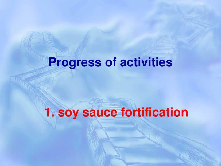 Progress of activities