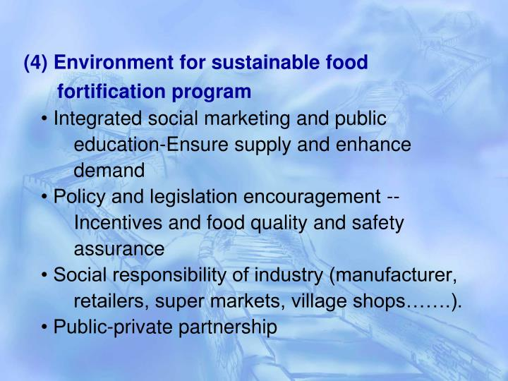 (4) Environment for sustainable food