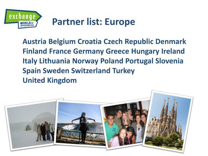 Partner list:
