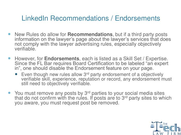 LinkedIn Recommendations / Endorsements