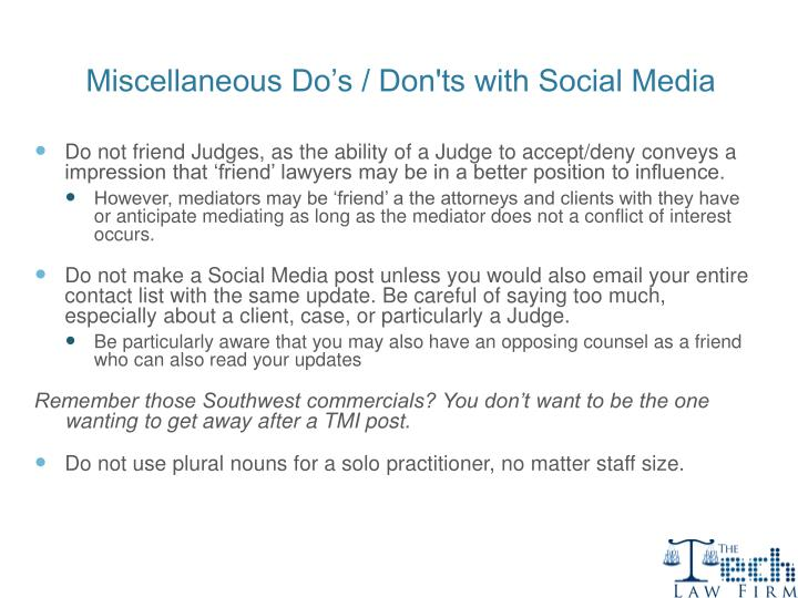 Miscellaneous Do's / Don'ts with Social Media
