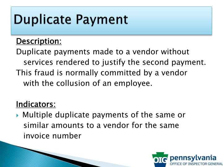 Duplicate Payment