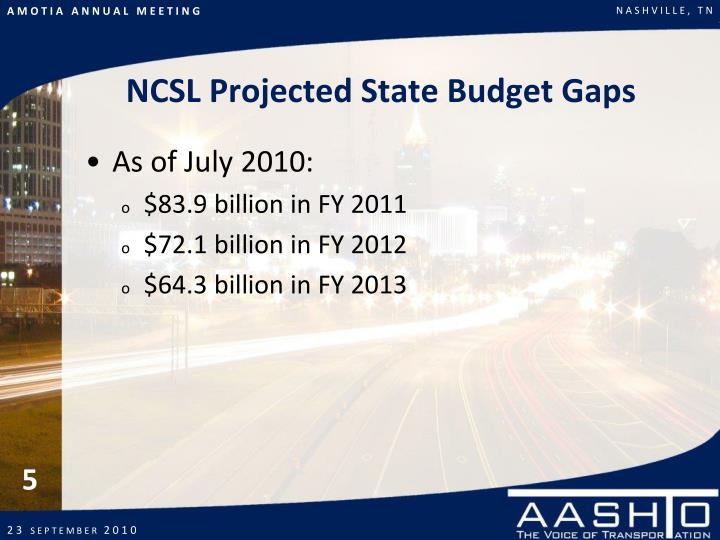 NCSL Projected State Budget Gaps