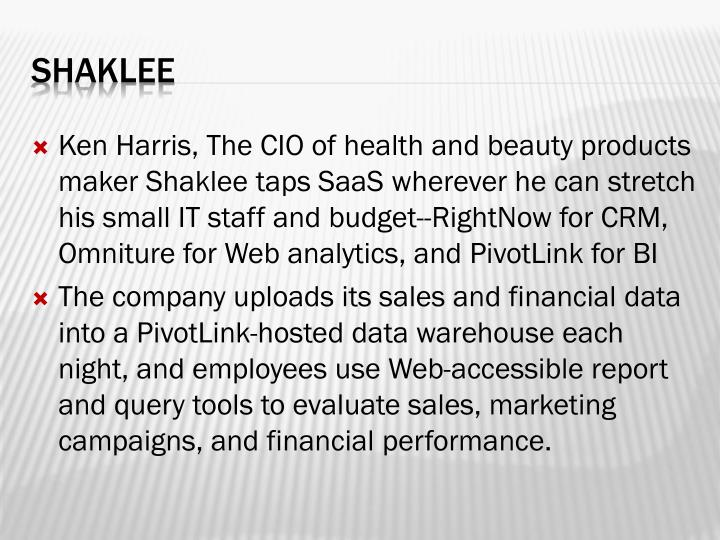 Ken Harris, The CIO of health and beauty products maker Shaklee taps