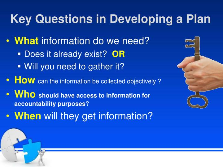 Key Questions in Developing a Plan