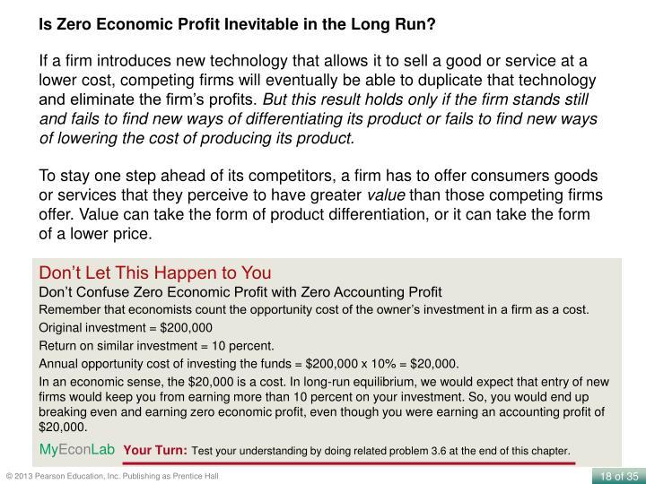 Is Zero Economic Profit Inevitable in the Long Run?