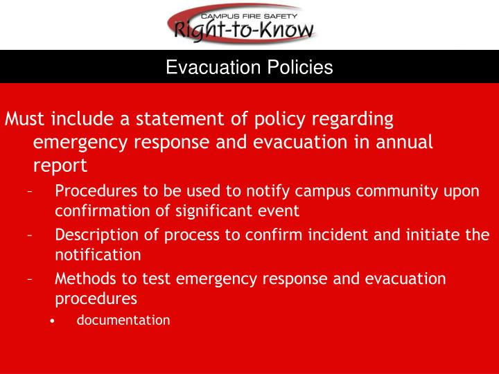 Evacuation Policies