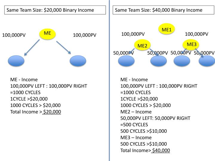 Same Team Size: $20,000 Binary Income