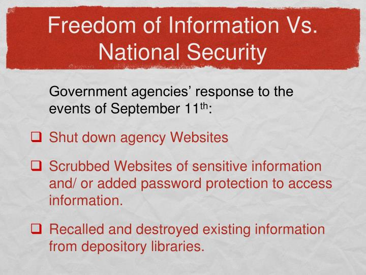 Freedom of Information Vs. National Security