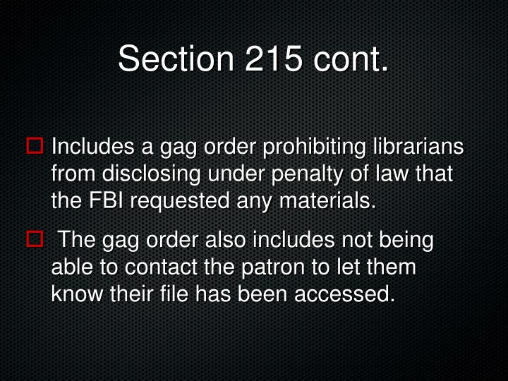 Section 215 cont.