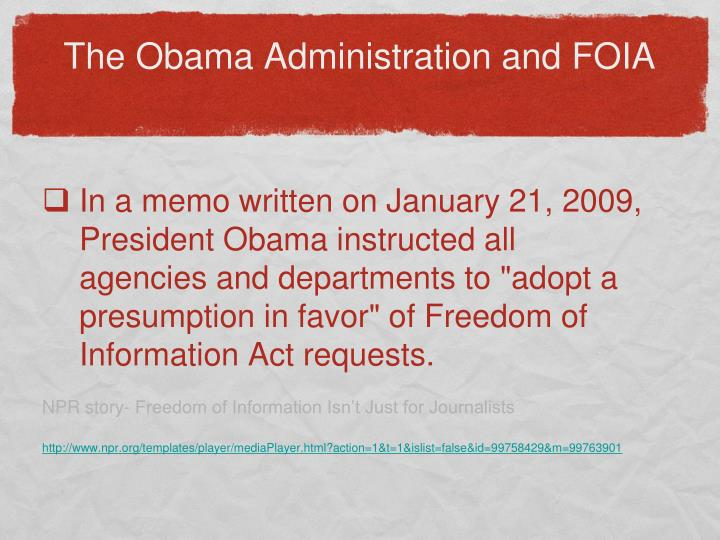 The Obama Administration and FOIA