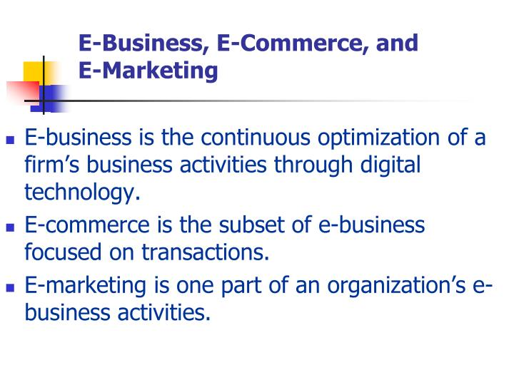 E-Business, E-Commerce, and