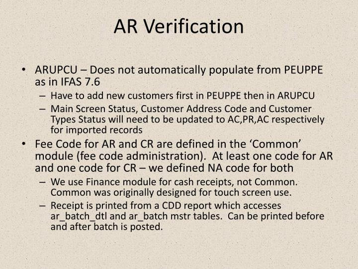 AR Verification