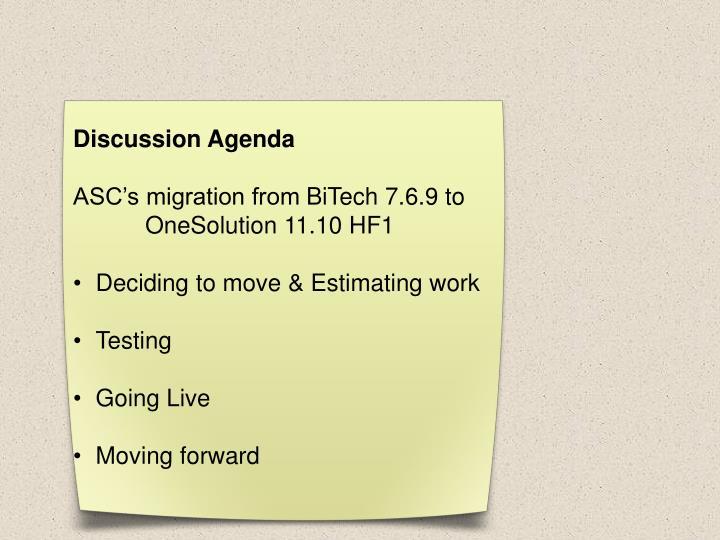 Discussion Agenda