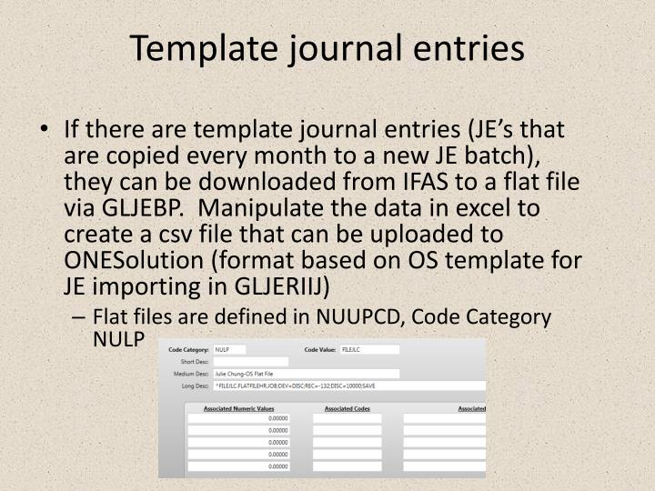 Template journal entries