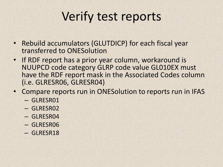 Verify test reports