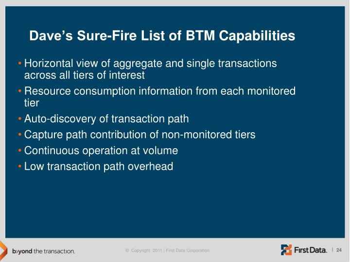 Dave's Sure-Fire List of BTM Capabilities