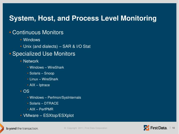 System, Host, and Process Level Monitoring