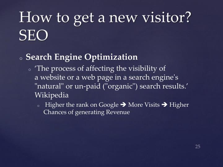 How to get a new visitor? SEO