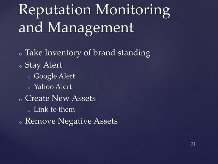 Reputation Monitoring and Management