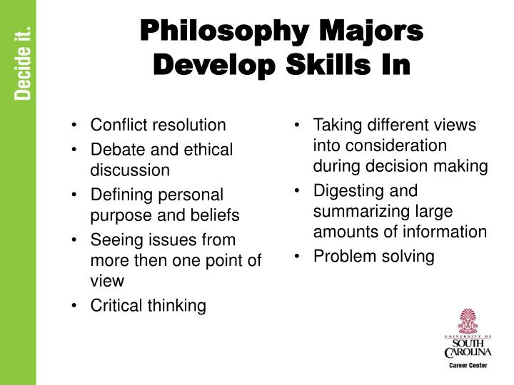 Philosophy Majors Develop Skills In