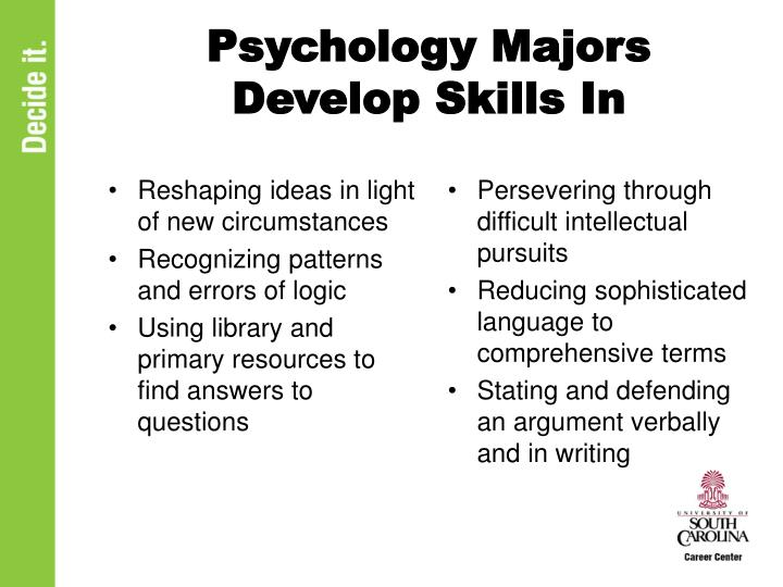 Psychology Majors Develop Skills In