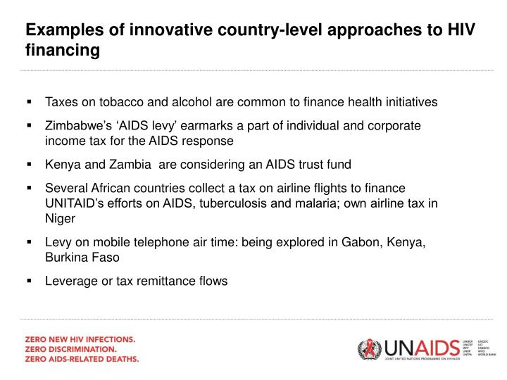 Examples of innovative country-level approaches to HIV financing
