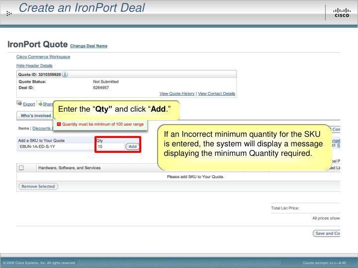 Create an IronPort Deal