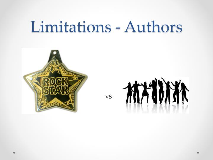 Limitations - Authors