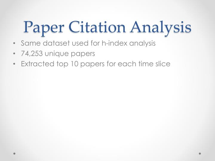 Paper Citation Analysis