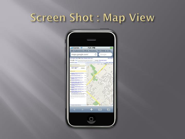 Screen Shot : Map View