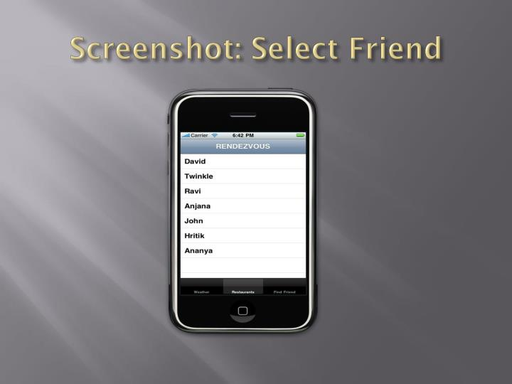 Screenshot: Select Friend