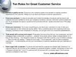 ten rules for great customer service