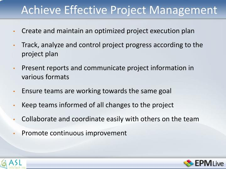 Achieve Effective Project Management