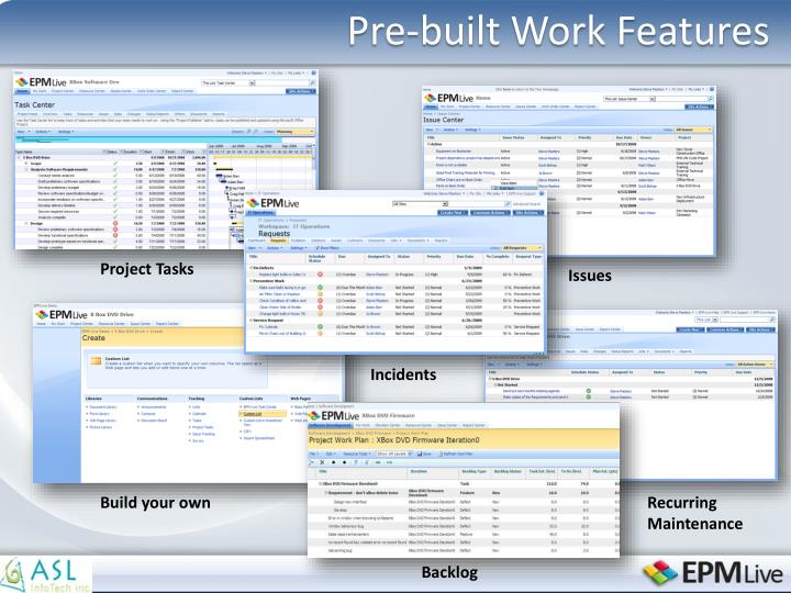 Pre-built Work Features